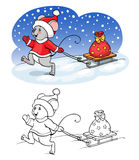 Coloring book or page. Vector mouse with gift. Stock Photos