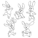 Coloring book or page. Vector set of rabbits. Stock Photography
