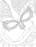 Coloring book page with venetian mask. Vector hand drawn black and white illustration. Anti stress pattern for adult Stock Photos