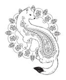 Coloring book pages  ermine with paisley ornaments isolated vector illustration Stock Image