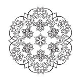 Coloring book pages for kids and adults. Hand drawn abstract snowflake Stock Image