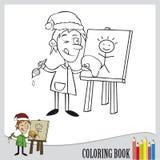 Coloring book. Painter as santa clause (vector Royalty Free Stock Photo