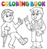 Coloring book with patient and doctor Stock Image