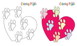 Coloring Book Paws Heart Royalty Free Stock Image