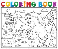Coloring book pegasus near castle Royalty Free Stock Photos