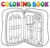 Coloring book pencil case theme 1 Royalty Free Stock Images