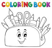 Coloring book pencil case theme 2 Royalty Free Stock Images