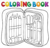 Coloring book pencil case theme 1. Eps10 vector illustration stock illustration