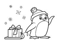 Coloring book, penguin with christmas gift Stock Photo
