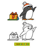 Coloring book, penguin with christmas gift Royalty Free Stock Images