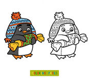Coloring book, penguin with christmas gift Royalty Free Stock Photography