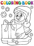 Coloring book penguin with gift Stock Photo