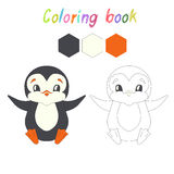 Coloring book penguin kids layout for game Royalty Free Stock Image