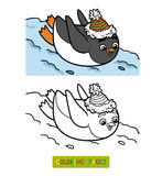 Coloring book, penguin slides from the mountain Royalty Free Stock Image