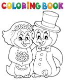 Coloring book penguin wedding theme 1 royalty free stock image
