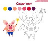 Coloring book with pig holding magic stick stock illustration