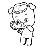 Coloring book, pig with a magnifying glass Royalty Free Stock Photography