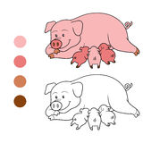 Coloring book (pig mommy and piget) Stock Image