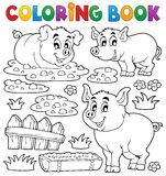 Coloring book pig theme 1 Royalty Free Stock Images