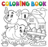 Coloring book pig theme 2 Royalty Free Stock Images