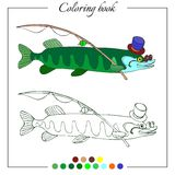 Coloring book with pike in hat and glasses. Cartoon childish illustration. Royalty Free Stock Photo