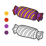 Coloring book, Pillow candy. Coloring book for children, Pillow candy Royalty Free Stock Images