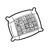 Coloring book, Pillow. Coloring book for children, Pillow Stock Image