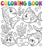 Coloring book piranha fishes theme 1 Royalty Free Stock Photos