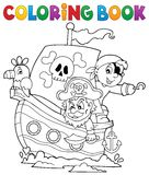 Coloring book pirate boat theme 1 Royalty Free Stock Image