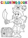 Coloring book pirate girl theme 1 Royalty Free Stock Photography