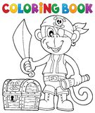 Coloring book pirate monkey image 2 Royalty Free Stock Image