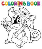 Coloring book pirate monkey image 1 Stock Image