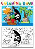 Coloring book pirate parrot theme 3 Stock Photography