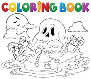 Coloring book pirate skull island Royalty Free Stock Images