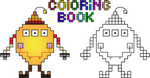 Coloring book pixel monster first. Coloring book. Funny pixel monster (first Royalty Free Stock Images