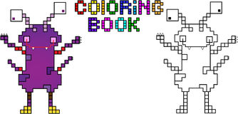 Coloring book pixel monster fourth Stock Images