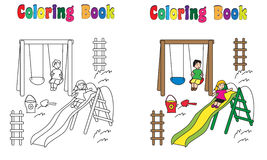 Coloring Book Playground with children. Coloring book Playground, children, boy,girl. coloring and colored version included Royalty Free Stock Images