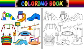 Coloring book with playground equipment icons set stock illustration