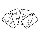 Coloring book, Playing cards vector illustration