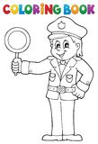 Coloring book policeman holds stop sign Royalty Free Stock Images
