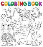 Coloring book Poseidon theme 1 Stock Images