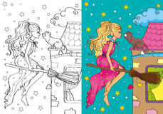 Coloring Book Of Pretty Witch Flying On Broomstick Royalty Free Stock Images