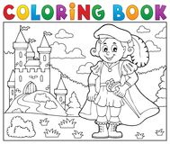 Coloring book prince and castle 2 vector illustration