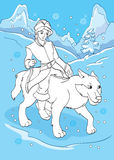 Coloring Book Of Prince Ivan Rides Grey Wolf. Vector illustration of prince Ivan rides grey wolf for coloring page for kids Stock Photos