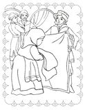 Coloring Book Of Prince Peasant Woman Yarn royalty free stock photos