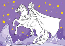 Coloring Book Of Prince Rides Horse At Night Stock Images