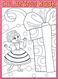 Coloring book. Princess girl with a birthday gift. Coloring book. Cute little young princess girl with a huge birthday gift box. Cartoon vector illustration royalty free illustration