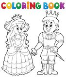 Coloring book princess and prince Royalty Free Stock Photos