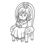Coloring book, princess seated on a throne Royalty Free Stock Photos