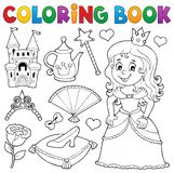 Coloring book princess topic set 1 stock images